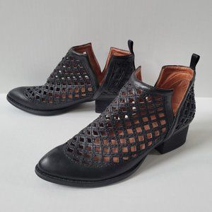 Jeffrey Campbell Taggart Perforated Black Leather Booties